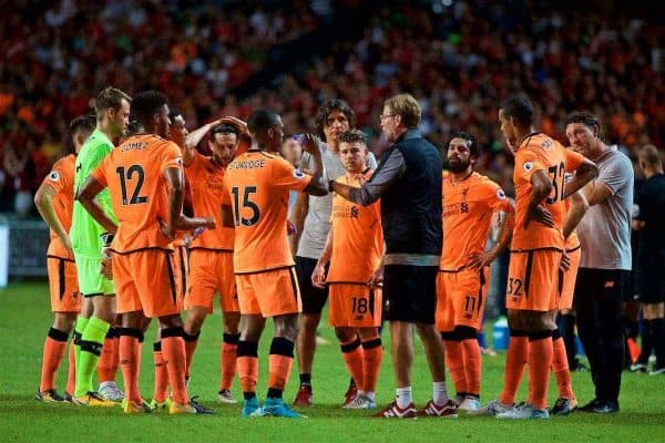 HONG KONG, CHINA - Wednesday, July 19, 2017: Liverpool's manager Jürgen Klopp gives a team-talk during a water break during the Premier League Asia Trophy match between Liverpool and Crystal Palace at the Hong Kong International Stadium. (Pic by David Rawcliffe/Propaganda)