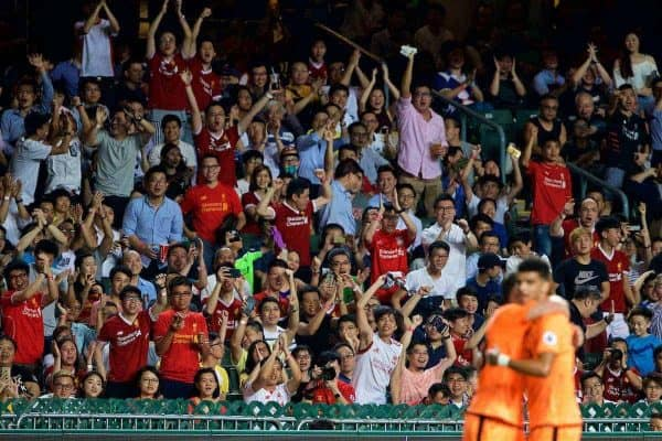 HONG KONG, CHINA - Wednesday, July 19, 2017: Liverpool's supporter celebrate an opening goal from Dominic Solanke against Crystal Palace during the Premier League Asia Trophy match between Liverpool and Crystal Palace at the Hong Kong International Stadium. (Pic by David Rawcliffe/Propaganda)