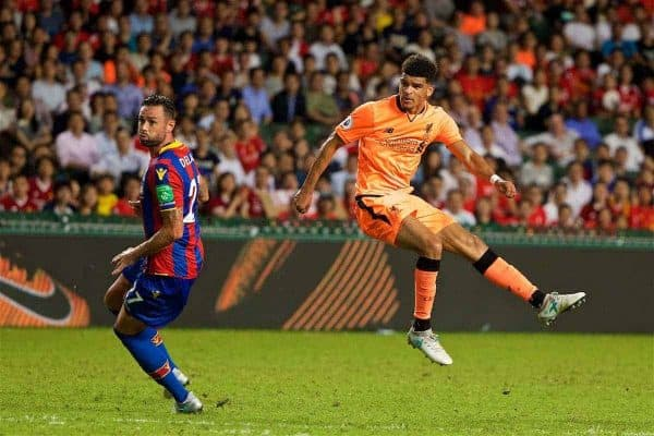 HONG KONG, CHINA - Wednesday, July 19, 2017: Liverpool's Dominic Solanke scores the first goal against Crystal Palace during the Premier League Asia Trophy match between Liverpool and Crystal Palace at the Hong Kong International Stadium. (Pic by David Rawcliffe/Propaganda)