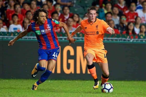HONG KONG, CHINA - Wednesday, July 19, 2017: Liverpool's Ryan Kent and Crystal Palace's Luke Croll during the Premier League Asia Trophy match between Liverpool and Crystal Palace at the Hong Kong International Stadium. (Pic by David Rawcliffe/Propaganda)