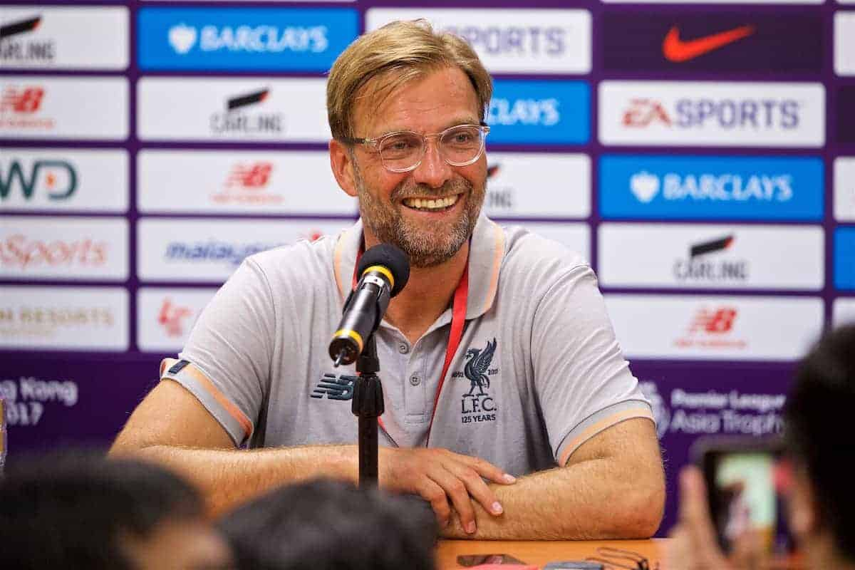 HONG KONG, CHINA - Wednesday, July 19, 2017: Liverpool's manager Jürgen Klopp during a post match press conference after the Premier League Asia Trophy match between Liverpool and Crystal Palace at the Hong Kong International Stadium. (Pic by David Rawcliffe/Propaganda)