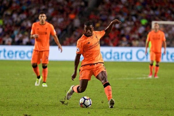 HONG KONG, CHINA - Wednesday, July 19, 2017: Liverpool's Georginio Wijnaldum during the Premier League Asia Trophy match between Liverpool and Crystal Palace at the Hong Kong International Stadium. (Pic by David Rawcliffe/Propaganda)