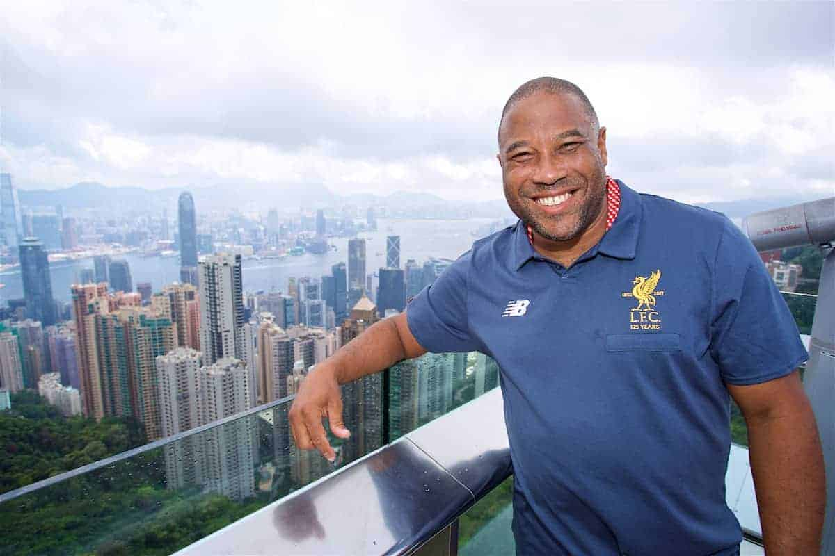 HONG KONG, CHINA - Friday, July 21, 2017: Liverpool legend John Barnes visits Victoria Peak to see the views of Hong Kong harbour during day five of the Premier League Asia Trophy 2017. (Pic by David Rawcliffe/Propaganda)
