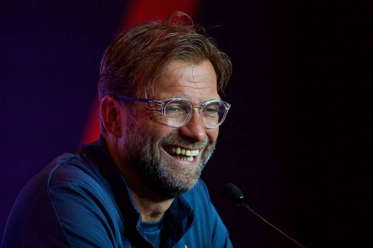HONG KONG, CHINA - Friday, July 21, 2017: Liverpool's manager Jürgen Klopp during a press conference at the Grand Hyatt Hotel Hong Kong ahead of the Premier League Asia Trophy 2017. (Pic by David Rawcliffe/Propaganda)