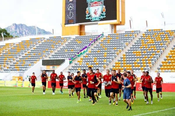 HONG KONG, CHINA - Friday, July 21, 2017: Liverpool players during a training session at the Mong Kok Stadium during the Premier League Asia Trophy 2017. (Pic by David Rawcliffe/Propaganda)