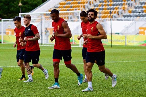 HONG KONG, CHINA - Friday, July 21, 2017: Liverpool players Daniel Sturridge and Mohamed Salah during a training session at the Mong Kok Stadium during the Premier League Asia Trophy 2017. (Pic by David Rawcliffe/Propaganda)