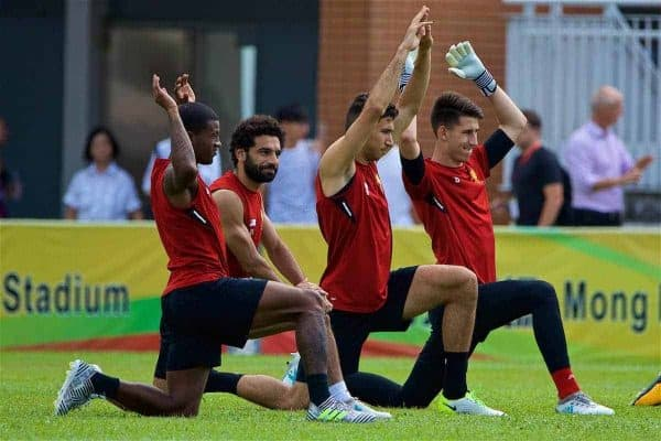 HONG KONG, CHINA - Friday, July 21, 2017: Liverpool players Georginio Wijnaldum, Mohamed Salah, Marko Grujic during a training session at the Mong Kok Stadium during the Premier League Asia Trophy 2017. (Pic by David Rawcliffe/Propaganda)