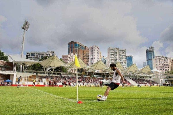 HONG KONG, CHINA - Friday, July 21, 2017: Liverpool's Mohamed Salah during a training session at the Mong Kok Stadium during the Premier League Asia Trophy 2017. (Pic by David Rawcliffe/Propaganda)