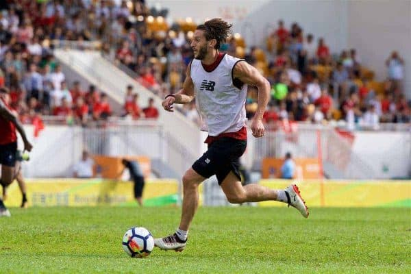 HONG KONG, CHINA - Friday, July 21, 2017: Liverpool's Adam Lallana during a training session at the Mong Kok Stadium during the Premier League Asia Trophy 2017. (Pic by David Rawcliffe/Propaganda)