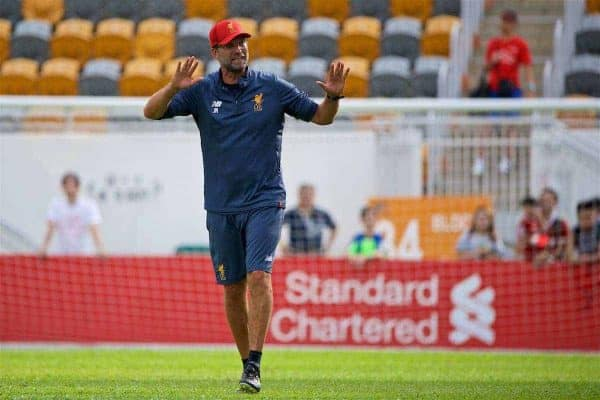 HONG KONG, CHINA - Friday, July 21, 2017: Liverpool's manager Jürgen Klopp during a training session at the Mong Kok Stadium during the Premier League Asia Trophy 2017. (Pic by David Rawcliffe/Propaganda)