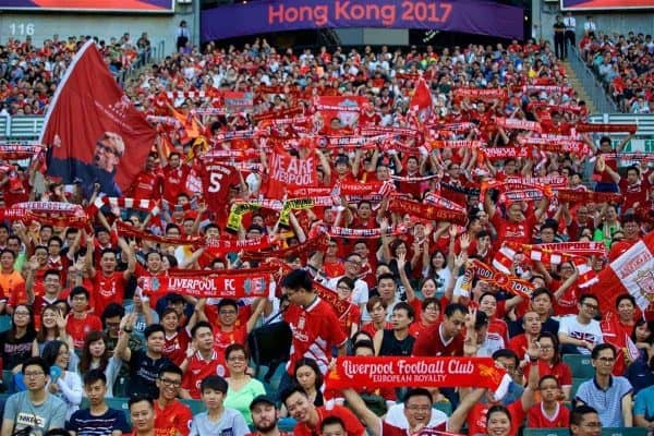HONG KONG, CHINA - Saturday, July 22, 2017: Liverpool supporters during the Premier League Asia Trophy final match between Liverpool and Leicester City at the Hong Kong International Stadium. (Pic by David Rawcliffe/Propaganda)