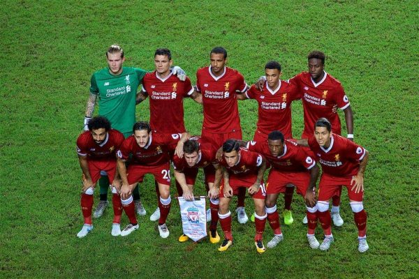 HONG KONG, CHINA - Saturday, July 22, 2017: Liverpool players line-up for a team group photograph before the Premier League Asia Trophy final match between Liverpool and Leicester City at the Hong Kong International Stadium. (Pic by David Rawcliffe/Propaganda)