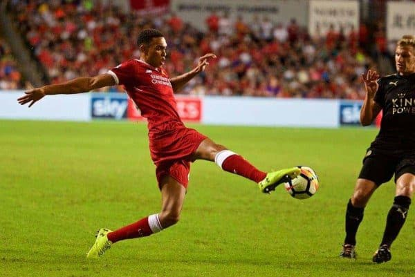 Liverpool's Trent Alexander-Arnold during the Premier League Asia Trophy final match between Liverpool and Leicester City at the Hong Kong International Stadium. (Pic by David Rawcliffe/Propaganda)