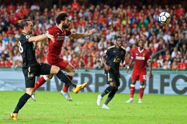 Liverpool's Mohamed Salah scores the first equalising goal during the Premier League Asia Trophy final match between Liverpool and Leicester City at the Hong Kong International Stadium. (Pic by David Rawcliffe/Propaganda)