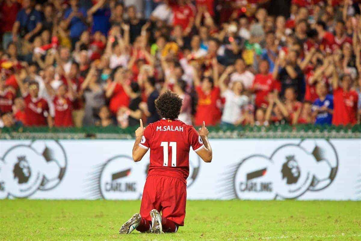 HONG KONG, CHINA - Saturday, July 22, 2017: Liverpool's Mohamed Salah celebrates scoring the first equalising goal during the Premier League Asia Trophy final match between Liverpool and Leicester City at the Hong Kong International Stadium. (Pic by David Rawcliffe/Propaganda)