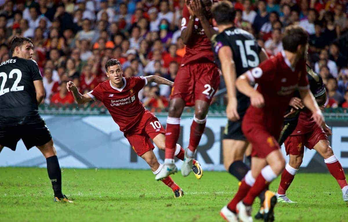 HONG KONG, CHINA - Saturday, July 22, 2017: Liverpool's Philippe Coutinho Correia scores the second goal during the Premier League Asia Trophy final match between Liverpool and Leicester City at the Hong Kong International Stadium. (Pic by David Rawcliffe/Propaganda)
