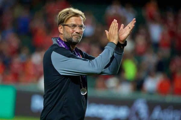 Liverpool's manager Jürgen Klopp applauds the supporters after beating Leicester City 2-0 during the Premier League Asia Trophy final match between Liverpool and Leicester City at the Hong Kong International Stadium. (Pic by David Rawcliffe/Propaganda)