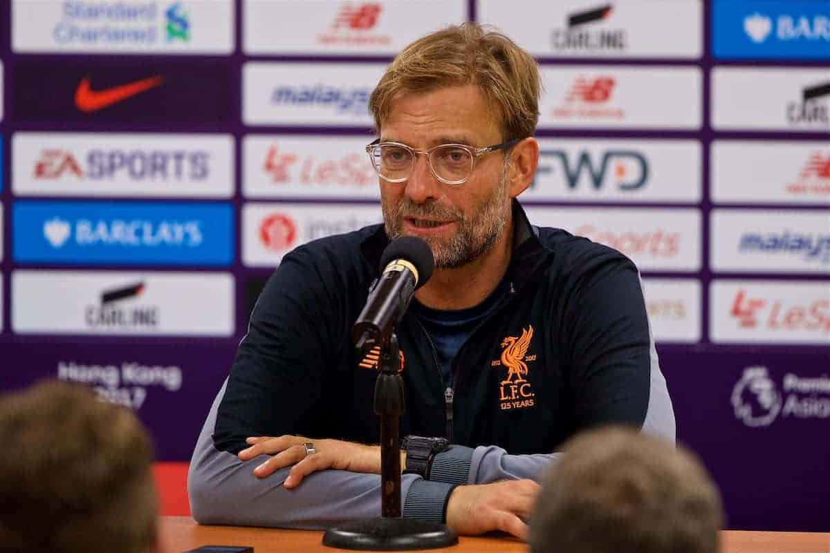 HONG KONG, CHINA - Saturday, July 22, 2017: Liverpool's manager Jürgen Klopp during a post-match press conference after the Premier League Asia Trophy final match between Liverpool and Leicester City at the Hong Kong International Stadium. (Pic by David Rawcliffe/Propaganda)