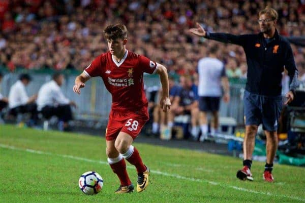 HONG KONG, CHINA - Saturday, July 22, 2017: Liverpool's Ben Woodburn during the Premier League Asia Trophy final match between Liverpool and Leicester City at the Hong Kong International Stadium. (Pic by David Rawcliffe/Propaganda)