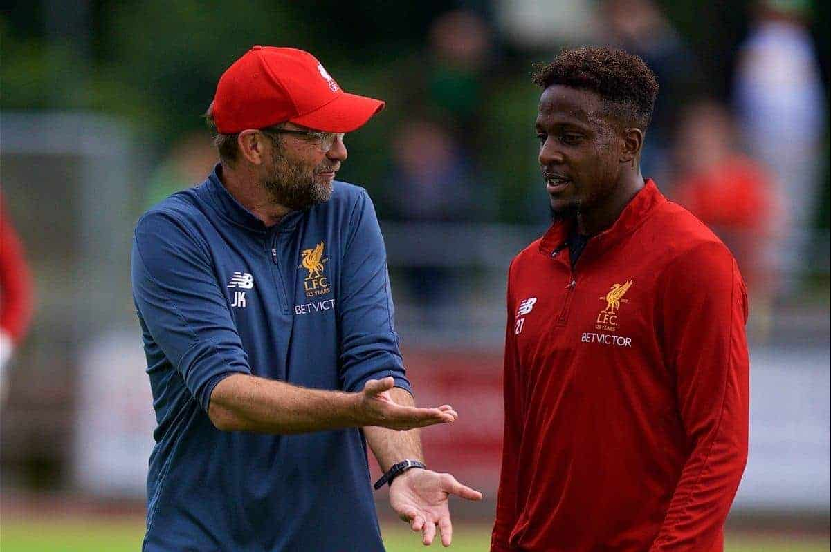 ROTTACH-EGERN, GERMANY - Friday, July 28, 2017: Liverpool's manager J¸rgen Klopp and Divock Origi during a training session at FC Rottach-Egern on day three of the preseason training camp in Germany. (Pic by David Rawcliffe/Propaganda)
