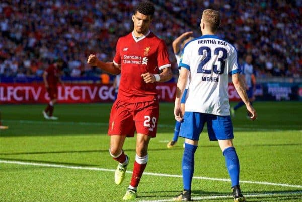 BERLIN, GERMANY - Saturday, July 29, 2017: Liverpool's Dominic Solanke celebrates scoring the first goal during a preseason friendly match celebrating 125 years of football for Liverpool and Hertha BSC Berlin at the Olympic Stadium. (Pic by David Rawcliffe/Propaganda)