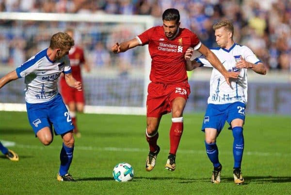 Liverpool's Emre Can during a preseason friendly match celebrating 125 years of football for Liverpool and Hertha BSC Berlin at the Olympic Stadium. (Pic by David Rawcliffe/Propaganda)