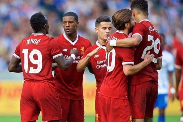 BERLIN, GERMANY - Saturday, July 29, 2017: Liverpool's Georginio Wijnaldum celebrates scoring the second goal during a preseason friendly match celebrating 125 years of football for Liverpool and Hertha BSC Berlin at the Olympic Stadium. (Pic by David Rawcliffe/Propaganda)