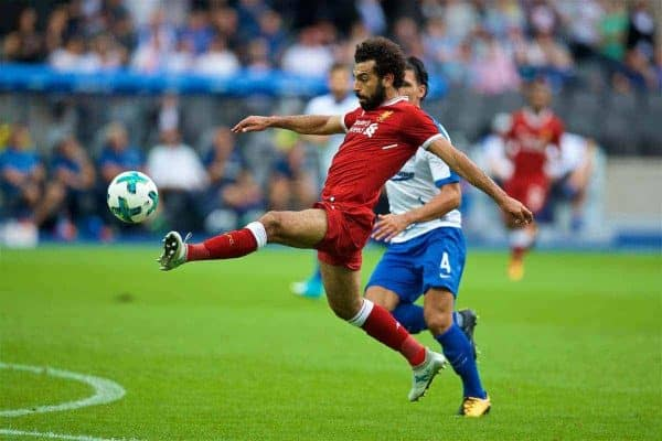 BERLIN, GERMANY - Saturday, July 29, 2017: Liverpool's Mohamed Salah scores the third goal during a preseason friendly match celebrating 125 years of football for Liverpool and Hertha BSC Berlin at the Olympic Stadium. (Pic by David Rawcliffe/Propaganda)