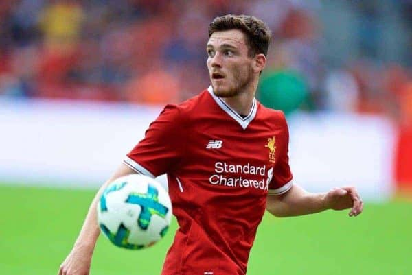 Liverpool's Andy Robertson during a preseason friendly match celebrating 125 years of football for Liverpool and Hertha BSC Berlin at the Olympic Stadium. (Pic by David Rawcliffe/Propaganda)