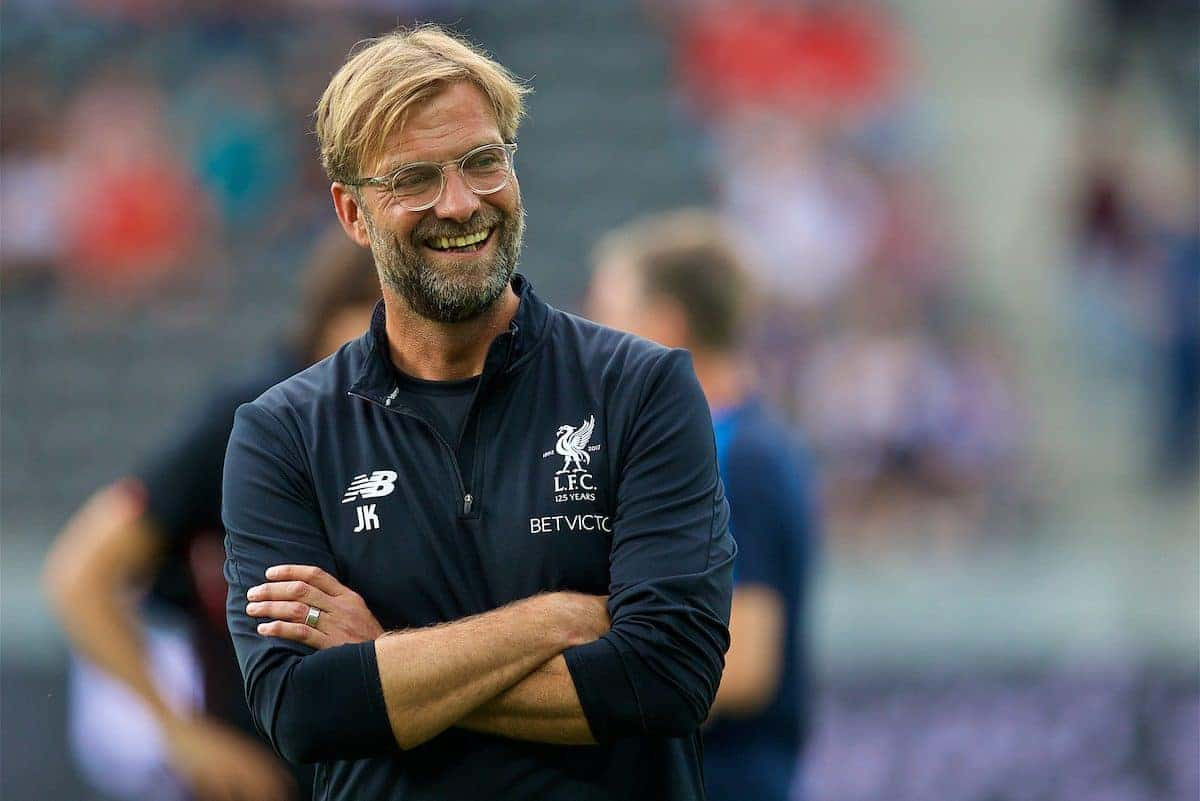 BERLIN, GERMANY - Saturday, July 29, 2017: Liverpool's manager Jürgen Klopp before a preseason friendly match celebrating 125 years of football for Liverpool and Hertha BSC Berlin at the Olympic Stadium. (Pic by David Rawcliffe/Propaganda)