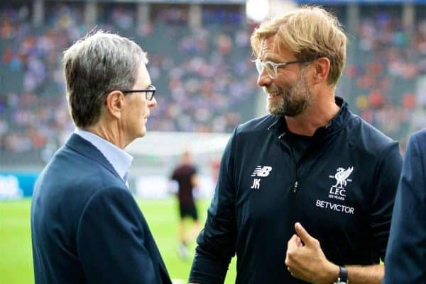 Liverpool's manager Jürgen Klopp chats with owner John W. Henry before a preseason friendly match celebrating 125 years of football for Liverpool and Hertha BSC Berlin at the Olympic Stadium. (Pic by David Rawcliffe/Propaganda)