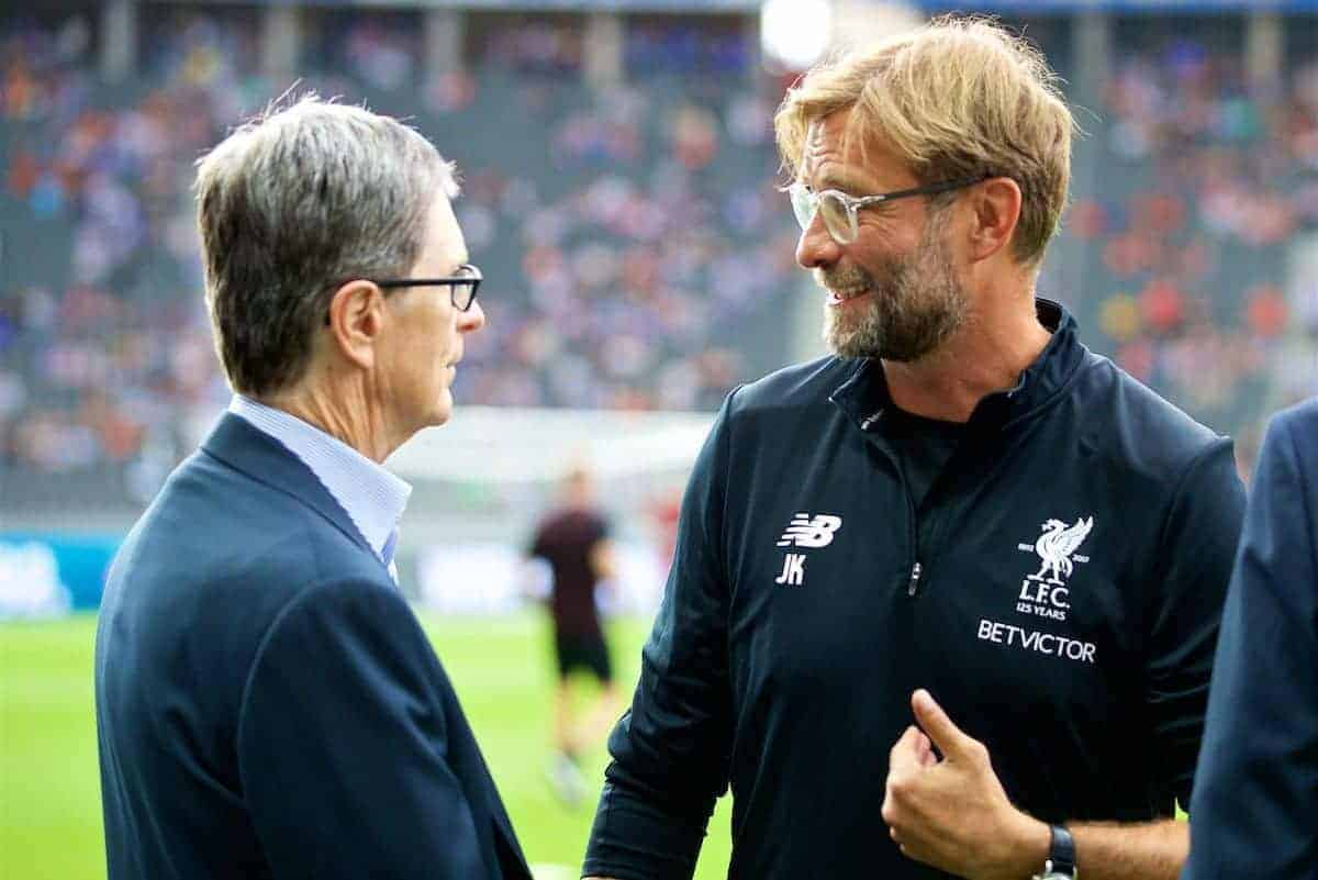 BERLIN, GERMANY - Saturday, July 29, 2017: Liverpool's manager Jürgen Klopp chats with owner John W. Henry before a preseason friendly match celebrating 125 years of football for Liverpool and Hertha BSC Berlin at the Olympic Stadium. (Pic by David Rawcliffe/Propaganda)