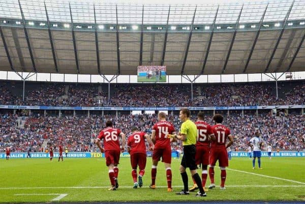 BERLIN, GERMANY - Saturday, July 29, 2017: Liverpool make five substitute changes at half-time bringing on Andy Robertson, Roberto Firmino, captain Jordan Henderson, Daniel Sturridge and Mohamed Salah during a preseason friendly match celebrating 125 years of football for Liverpool and Hertha BSC Berlin at the Olympic Stadium. (Pic by David Rawcliffe/Propaganda)