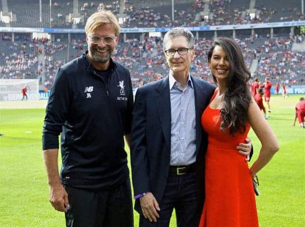 BERLIN, GERMANY - Saturday, July 29, 2017: Liverpool's owner John W. Henry and wife Linda Pizzuti with manager Jürgen Klopp before a preseason friendly match celebrating 125 years of football for Liverpool and Hertha BSC Berlin at the Olympic Stadium. (Pic by David Rawcliffe/Propaganda)