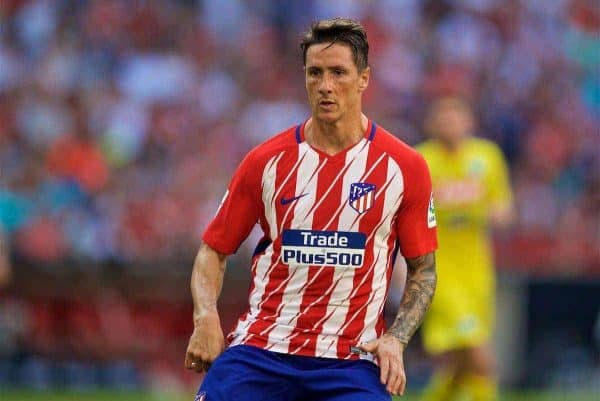 MUNICH, GERMANY - Tuesday, August 1, 2017: Atlético de Madrid's Fernando Torres during the Audi Cup 2017 match between Club S.S.C. Napoli and Atlético de Madrid at the Allianz Arena. (Pic by David Rawcliffe/Propaganda)