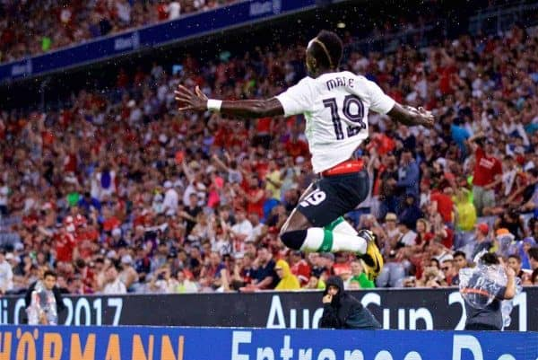 MUNICH, GERMANY - Tuesday, August 1, 2017: Liverpool's Sadio Mane celebrates scoring the first goal during the Audi Cup 2017 match between FC Bayern Munich and Liverpool FC at the Allianz Arena. (Pic by David Rawcliffe/Propaganda)