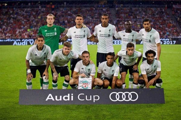 MUNICH, GERMANY - Tuesday, August 1, 2017: Liverpool's players line-up for a team group photograph before the Audi Cup 2017 match between FC Bayern Munich and Liverpool FC at the Allianz Arena. goalkeeper Loris Karius, Dejan Lovren, Joel Matip, Sadio Mane, Emre Can. Front row L-R: Roberto Firmino, Alberto Moreno, captain Jordan Henderson, Trent Alexander-Arnold, Philippe Coutinho Correia, Mohamed Salah. (Pic by David Rawcliffe/Propaganda)