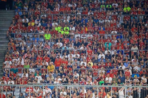 MUNICH, GERMANY - Tuesday, August 1, 2017: Liverpool supporters sitting in rail seats during the Audi Cup 2017 match between FC Bayern Munich and Liverpool FC at the Allianz Arena. (Pic by David Rawcliffe/Propaganda)