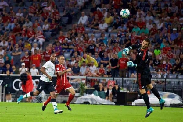 MUNICH, GERMANY - Tuesday, August 1, 2017: Liverpool's Daniel Sturridge scores the third goal during the Audi Cup 2017 match between FC Bayern Munich and Liverpool FC at the Allianz Arena. (Pic by David Rawcliffe/Propaganda)