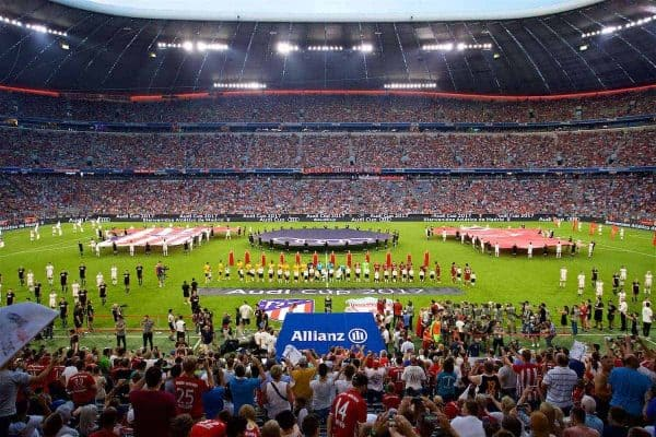 MUNICH, GERMANY - Wednesday, August 2, 2017: The players line-up before the Audi Cup 2017 final match between Liverpool FC and Atlético de Madrid's at the Allianz Arena. (Pic by David Rawcliffe/Propaganda)