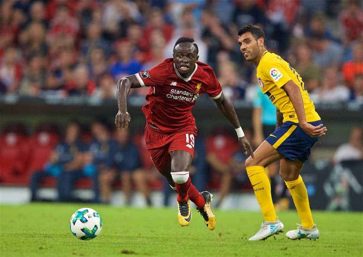 MUNICH, GERMANY - Wednesday, August 2, 2017: Liverpools Sadio Mane during the Audi Cup 2017 final match between Liverpool FC and Atlético de Madrid's at the Allianz Arena. (Pic by David Rawcliffe/Propaganda)