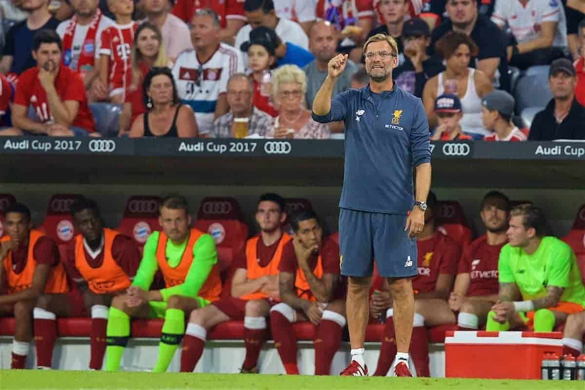 MUNICH, GERMANY - Wednesday, August 2, 2017: Liverpools manager Jürgen Klopp during the Audi Cup 2017 final match between Liverpool FC and Atlético de Madrid's at the Allianz Arena. (Pic by David Rawcliffe/Propaganda)