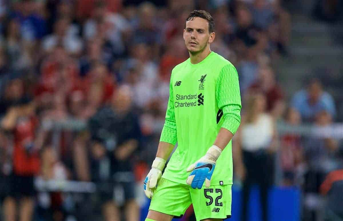 MUNICH, GERMANY - Wednesday, August 2, 2017: Liverpool's goalkeeper Danny Ward during the Audi Cup 2017 final match between Liverpool FC and Atlético de Madrid's at the Allianz Arena. (Pic by David Rawcliffe/Propaganda)