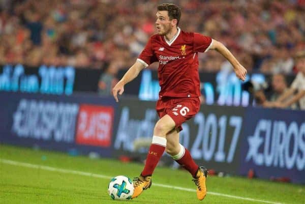 MUNICH, GERMANY - Wednesday, August 2, 2017: Liverpools Andy Robertson during the Audi Cup 2017 final match between Liverpool FC and Atlético de Madrid's at the Allianz Arena. (Pic by David Rawcliffe/Propaganda)