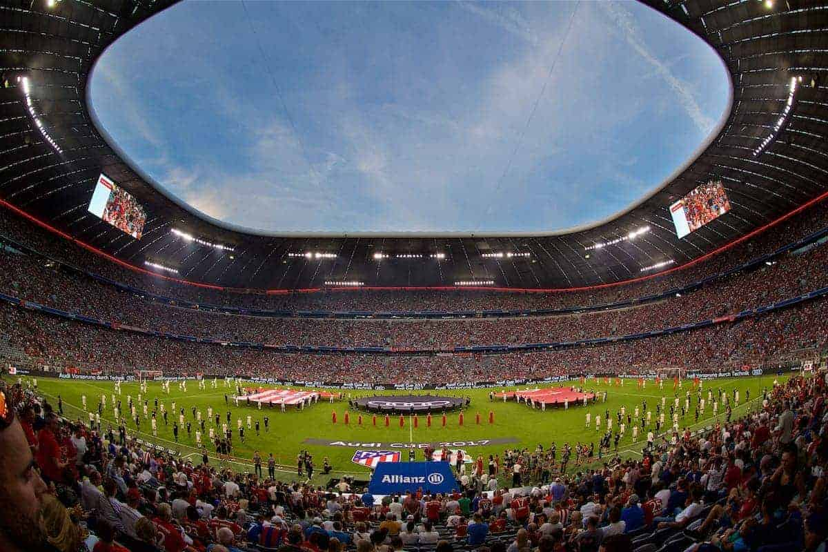 MUNICH, GERMANY - Wednesday, August 2, 2017: The ceremony before the Audi Cup 2017 final match between Liverpool FC and Atlético de Madrid's at the Allianz Arena. (Pic by David Rawcliffe/Propaganda)
