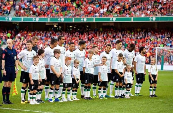 DUBLIN, REPUBLIC OF IRELAND - Saturday, August 5, 2017: Liverpool players line-up before a preseason friendly match between Athletic Club Bilbao and Liverpool at the Aviva Stadium. (Pic by David Rawcliffe/Propaganda)