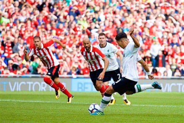 DUBLIN, REPUBLIC OF IRELAND - Saturday, August 5, 2017: Liverpool's Roberto Firmino scores the first goal from a penalty kick during a preseason friendly match between Athletic Club Bilbao and Liverpool at the Aviva Stadium. (Pic by David Rawcliffe/Propaganda)