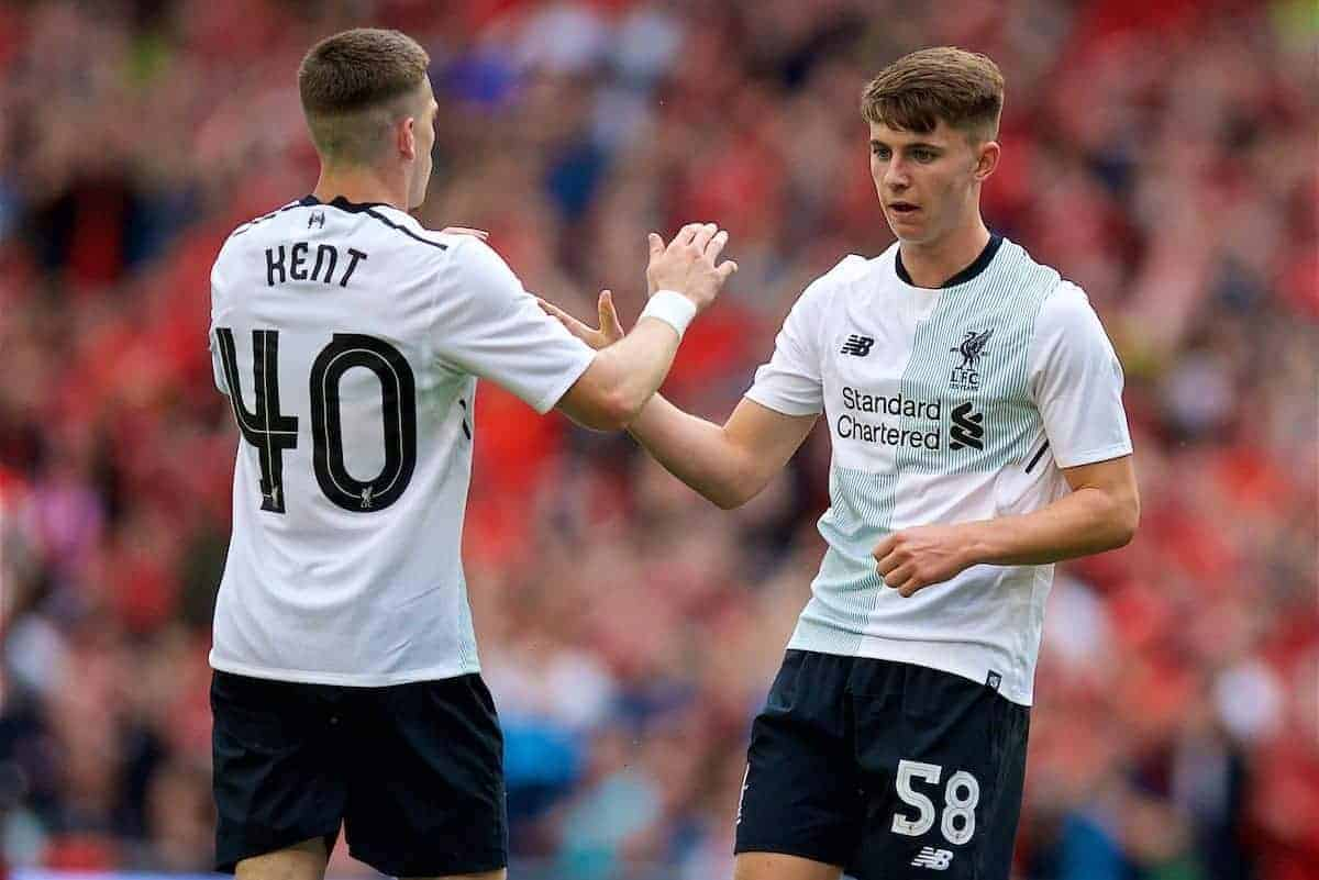 DUBLIN, REPUBLIC OF IRELAND - Saturday, August 5, 2017: Liverpool's Ben Woodburn celebrates scoring the second goal during a preseason friendly match between Athletic Club Bilbao and Liverpool at the Aviva Stadium. (Pic by David Rawcliffe/Propaganda)
