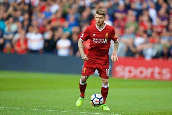 WATFORD, ENGLAND - Saturday, August 12, 2017: Liverpool's Alberto Moreno during the FA Premier League match between Watford and Liverpool at Vicarage Road. (Pic by David Rawcliffe/Propaganda)