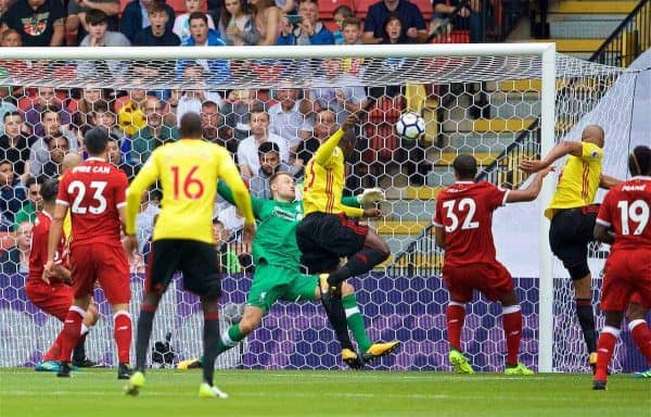WATFORD, ENGLAND - Saturday, August 12, 2017: Watford's Stefano Okaka scores the first goal during the FA Premier League match between Watford and Liverpool at Vicarage Road. (Pic by David Rawcliffe/Propaganda)